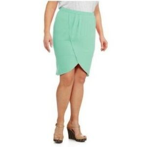 Women's Mint Green Tulip Midi Skirt Plus Size 3X